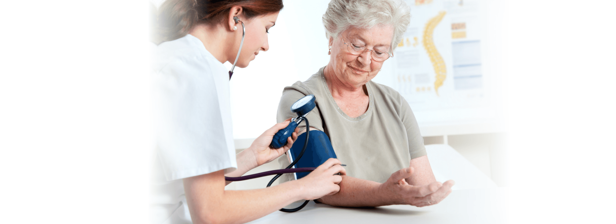 a nurse getting blood pressure